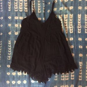 Black romper with lace trim